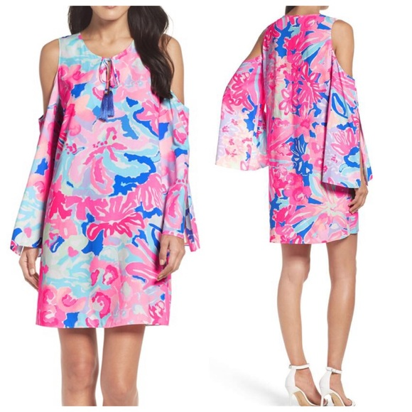 b9e1bee2eb7 Lilly Pulitzer Dresses | Benicia Pink Cold Shoulder Dress | Poshmark